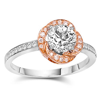 18K White and Rose Gold Diamond Ring Mounting