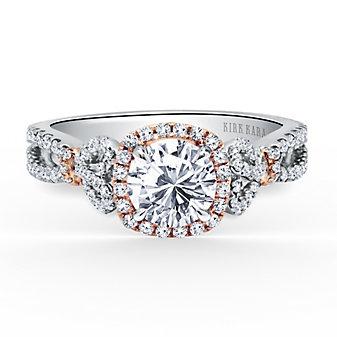 Kirk Kara 18K White and Rose Gold Round Diamond Halo Split Shank Bow Pattern Ring Mounting
