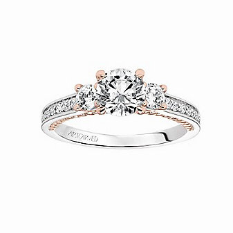 ArtCarved 14K White & Rose Gold Round Diamond Marlow Ring Mounting