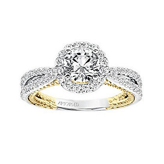ArtCarved 14K White & Yellow Gold Round Diamond Rope Marin Ring Mounting