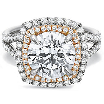 Precision Set Platinum and 18K Rose Gold Diamond Ring Mounting