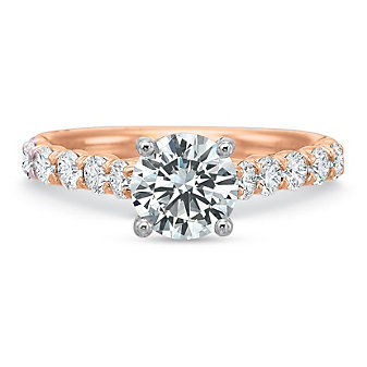 Precision Set 18K Rose Gold Diamond Ring Mounting