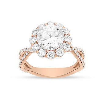 Precision Set 18K Rose Gold 12 Diamond Halo Ring Setting