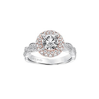 artcarved 14k rose gold anja double diamond halo twisted ring setting