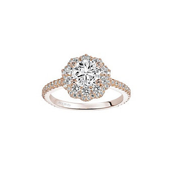 artcarved 14k rose gold priscilla double diamond halo ring setting