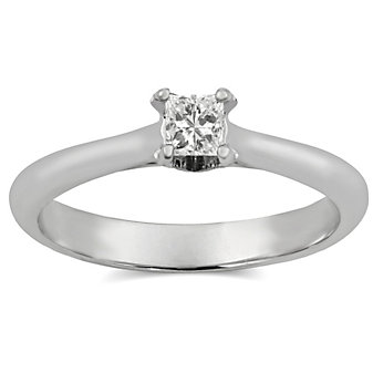 14K White Gold Princess Cut Diamond Engagement Ring, 0.27cttw