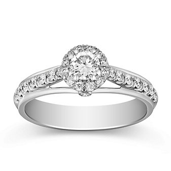 14K White Gold Round Diamond Ring With Diamond Halo, 0.54cttw