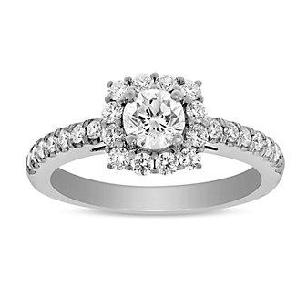 14K White Gold Round Diamond Halo Ring, 0.59CTTW