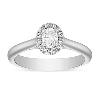 14K White Gold Oval Diamond Halo Engagement Ring, 0.44 CTTW