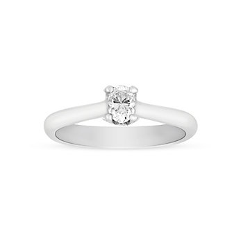 14K White Gold Oval Diamond Solitaire 0.29ct Engagement Ring