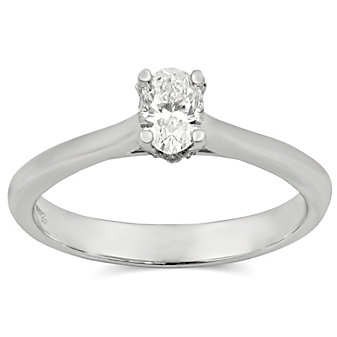14K White Gold Oval Diamond Engagement Ring, 0.42cttw