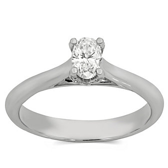 14K White Gold Oval Diamond Engagement Ring, 0.39cttw
