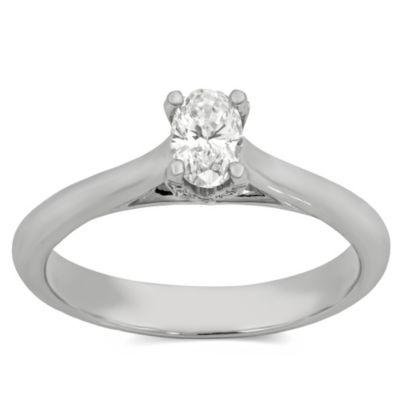 14K White Gold Oval Diamond Engagement Ring, 0.39cttw