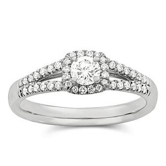 14K White Gold Round Diamond Split Shank Engagement Ring, 0.67cttw