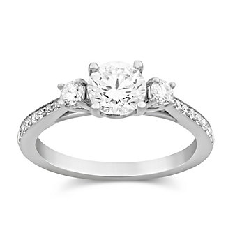 14K White Gold Round Diamond Ring With Diamond Accents, 0.75cttw