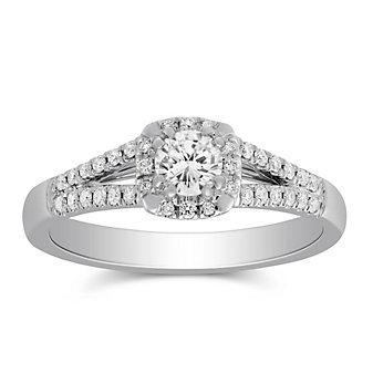 14K White Gold Round Diamond Split Shank Engagement Ring, 0.45cttw