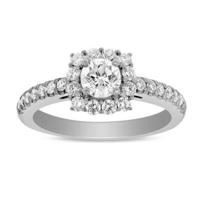 14K White Gold Round Diamond Halo Ring, 0.89 cttw