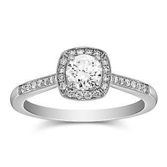 14K White Gold Round Diamond Milgrain Halo & Shank Ring, 0.45cttw