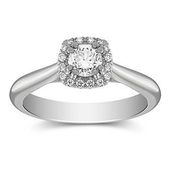 14K White Gold Diamond Ring with Diamond Cushion Halo