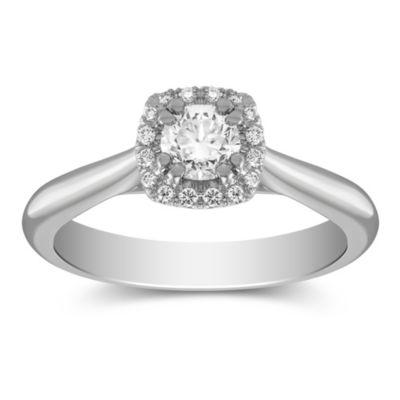 14K White Gold Diamond Ring with Diamond Cushion Halo