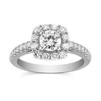 14K_White_Gold_Cushion_Halo_Round_Prong_Set_Diamond_Ring,_0.93cttw