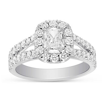 Henri Daussi 18K White Gold Cushion Diamond Halo Two Row Engagement Ring