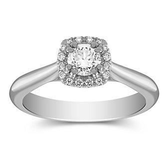 14K White Gold Round Diamond Halo Ring, 0.49CTTW