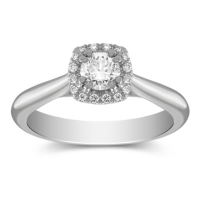 14K White Gold Round Diamond Halo Ring, 0.48CTTW
