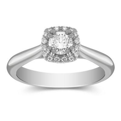 14K White Gold Round Diamond Halo Ring, 0.39CTTW
