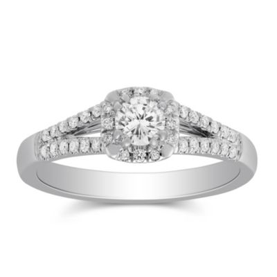 14K White Gold Diamond Ring with Diamond Halo & Split Shank, 0.49 CTTW