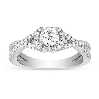 14K White Gold Diamond Ring with Diamond Cushion Halo & Criss Cross Shank