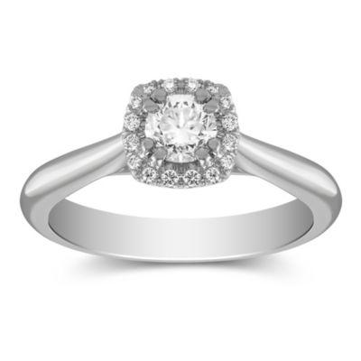 14K White Gold Round Diamond Halo Ring, 0.45CTTW