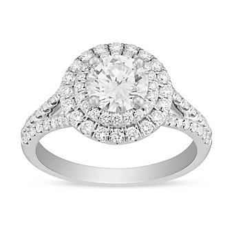 14k white gold diamond double halo split shank ring, 0.95cttw
