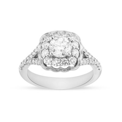 14k white gold diamond halo ring with scalloped milgrain edge & split shank