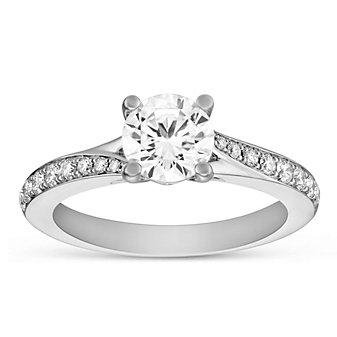 14k white gold diamond ring with swirled diamond shank, 0.79cttw