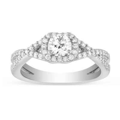 14k white gold diamond ring with diamond halo and twisted shank, 0.82cttw