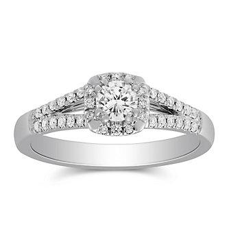 14k white gold diamond halo ring with diamond cushion halo & split shank, 0.59cttw