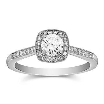 14k white gold diamond halo ring with diamond milgrain cushion halo & shank, 0.56cttw