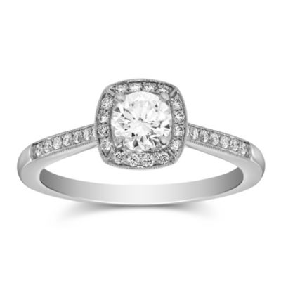 14k white gold diamond halo ring with diamond milgrain cushion halo & shank, 0.54cttw