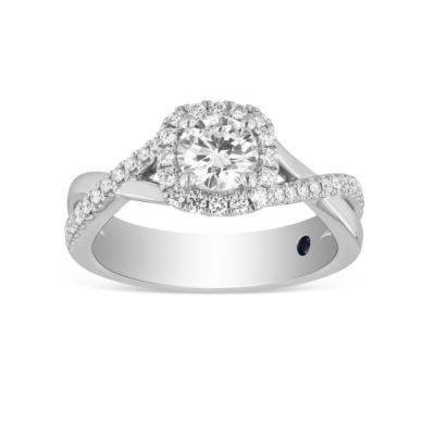14k white gold diamond halo ring with half diamond twisted shank, 0.80cttw