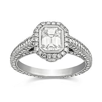 Platinum Emerald Cut Diamond and Round Diamond Ring, 2.00cttw