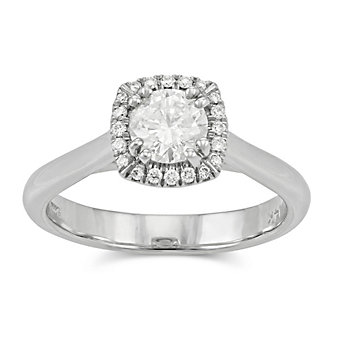 14K Round Diamond Engagement Ring With Round Diamond Halo, 0.68cttw