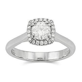 14K Round Diamond Engagement Ring With Diamond Halo, 0.70cttw