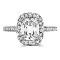 Henri_Daussi_18K_White_Gold_Cushion_Diamond_and_Round_Diamond_Halo_Ring,_1.17cttw
