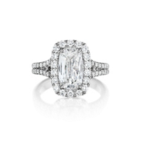 Henri_Daussi_18K_White_Gold_Cushion_Diamond_Halo_Ring_With_Split_Shank,_1.53cttw