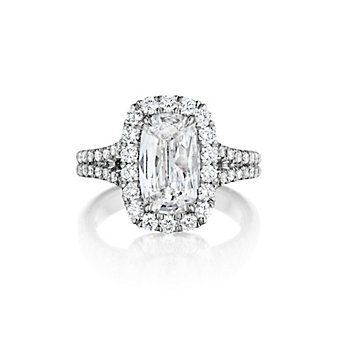 Henri Daussi 18K White Gold Cushion Diamond Halo Engagement Ring With Split Shank, 1.53cttw