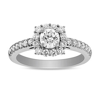 14K White Gold Round Diamond Square Halo Ring, 1.01 cttw