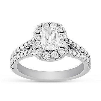 Henri Daussi 18K White Gold Cushion Diamond Halo Two Row Engagement Ring
