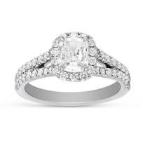 Henri_Daussi_18K_White_Gold_Cushion_Diamond_Halo_Ring,_1.37cttw