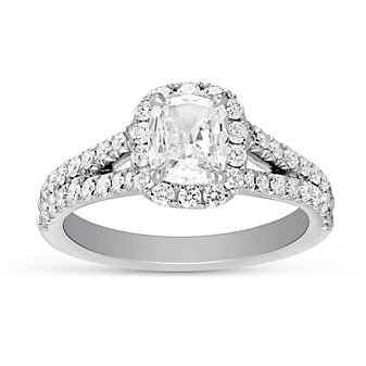 Henri Daussi 18K White Gold Cushion Diamond Halo Ring, 1.37cttw